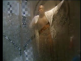 Reality show shower Semi hard and shows off for camera