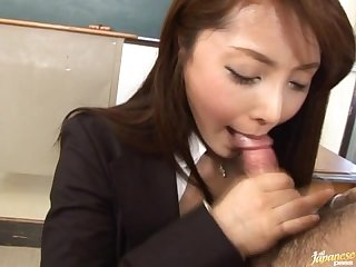 Japanese whore mei sawai gives a hot blowjob and gets cum in her mouth