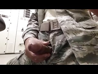 Soldier jerking off in military fatigues