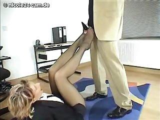 Secretary nicole pantyhose footjob