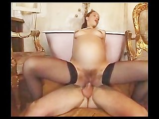 French pregnant slut banged
