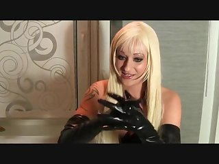 Slide slowly my long latex gloves to give you good handjob