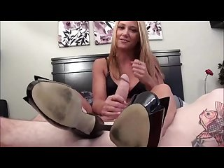 High heels handjob footjob