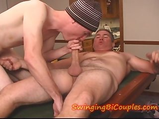 Son sucks step father and friends dick