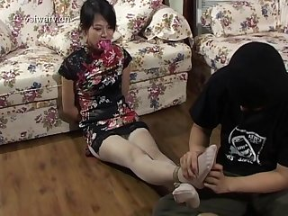 Asian pantyhose feet Tickling and bondage