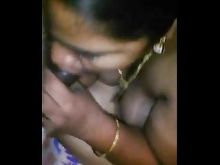 Tamil wife giving blowjob with Tamil audio