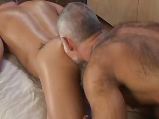 Hot dad gives massage