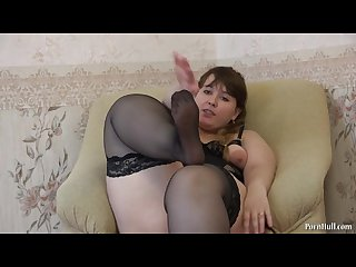 Disguises stockings and masturbates hairy pussy young beautiful bbw