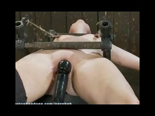 Adorable first timer 19 year old Sasha metal bound spread eagle