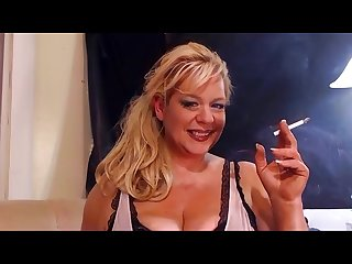 Blonde milf smoking fetish all white