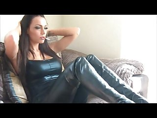 Jenna hoskins in leather pants top and thigh highs smoking