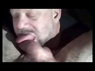 Bearded daddy licking balls and sucking cock