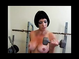 Mature working out and flexing boobs