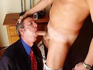 Real amateur guy sucks cock in suit