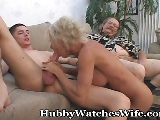 Mature takes cum from young stud hubby