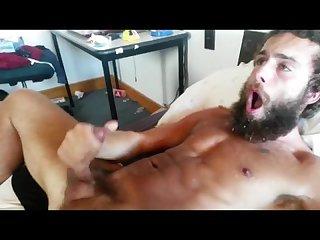 Bearded stud shoots huge load