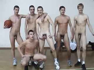 Sexy naked young guys playing basketball