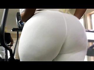 Big booty in tight white leggings