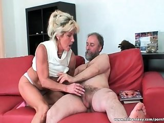 Mature blonde sucks cock and gets licked
