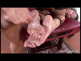 Rubbing cum into feet compilation 1