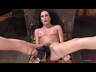 Milf brunette hogtied and tormented