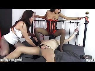 Nylon lesbians use slave to worship feet and lick pussy as they tease cock