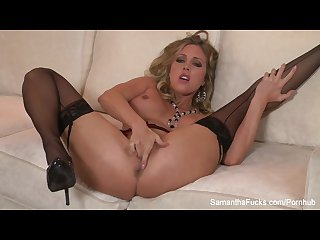 Sexy samantha strips off her lingerie and masturbates