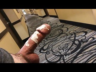 Big load public cum stroking in hotel hallway Spy loud fucking voyeur toy