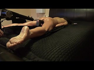 Tanned amateur cums hard with black dildo sex machine foot fetish