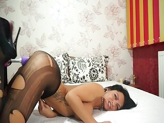 Anisyia livejasmin stockings high heels geting fucked by machine part2