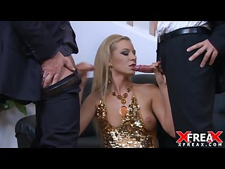 Elegant slut fucked by two cocks