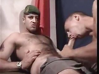 Big cocked hot straight hairy soldier gets sucked cums twice