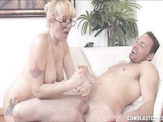 Alana jerks out a massive cumshot