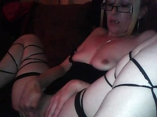 Hot milf masturbates solo orgasms watching porn