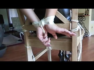 Carrisa hogtied then chair tied