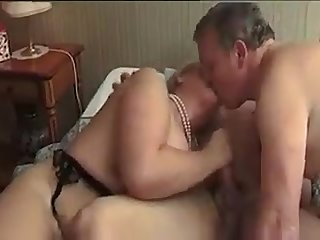 French mature bi couple share a dick and love it
