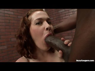 Cute milf takes a big black dick in her hairy pussy