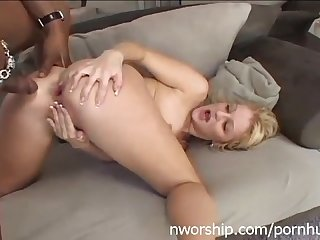 Blonde girl and big black cock in her ass interracial anal porn