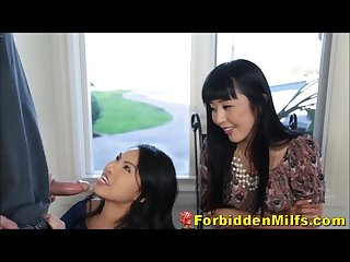 Asian milf watches kindly stepdaughter deepthroating exchange student