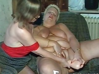Three busty mature sluts sucking one cock