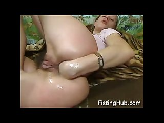 Lesbian pussy fisted Dp squirting anal prolapse cum slut orgasm