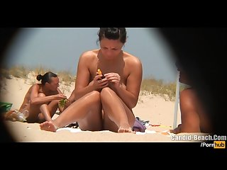 Hot young Nudist milfs tanning naked at the beach voyeur Hd video