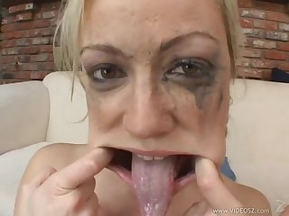 Adrianna nicole gets face fucked then gargles and swallows 4 loads of cum
