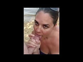 Amateur chick sucking cock on the riverbank oral creampie
