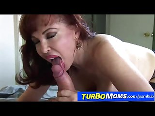 Hot redhead cougar sexy Vanessa sucking fat dick