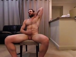 Handsome bearded guy jerk off on webcam