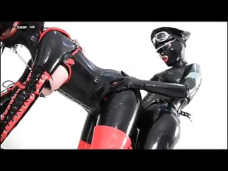 Latex bondage strapon
