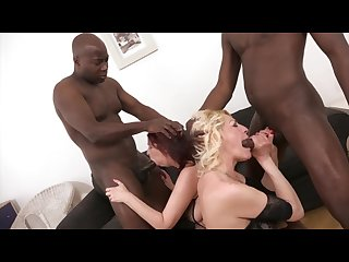 Horny grannies take turns being anal fucked by big black dick