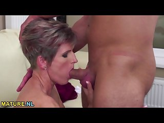 Pretty housewife gets nailed by a young guy