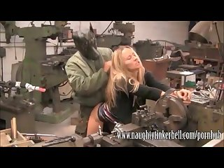 Cute blonde gets a full hardcore pussy service at her local garage